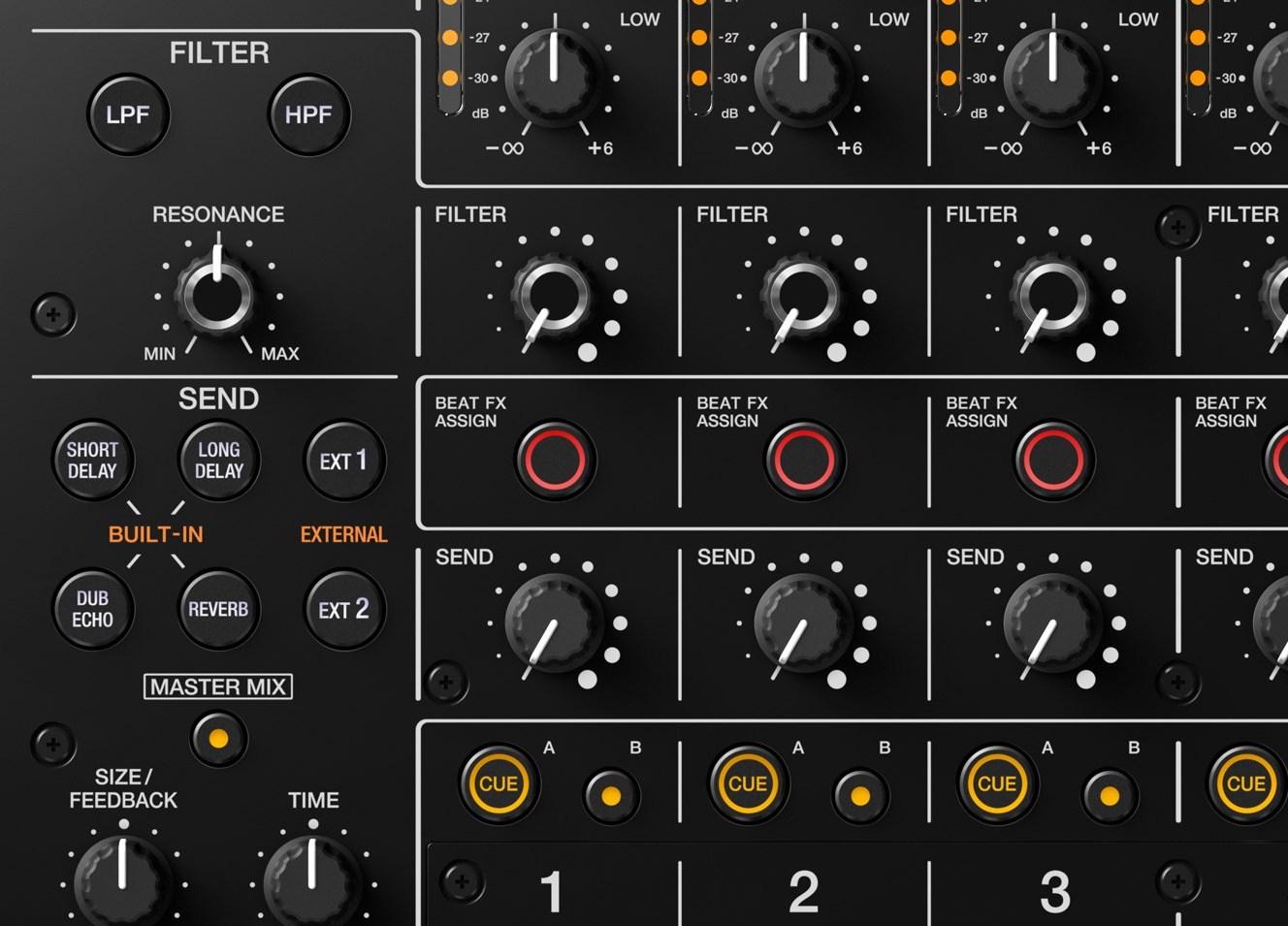 djm-v10 filter, send fx, cue